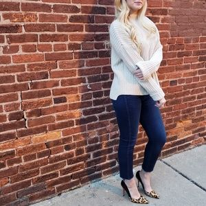 Vince Funnel Neck High Low Knit Sweater